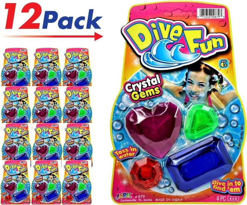 JA-RU Diving Gems Dive Toys (Pack) Dive Fun Crystal Gems Swimming Pool Dive or Fun Bath Tub | Plus 1 Collectable Bouncy Ball I Item #879-1