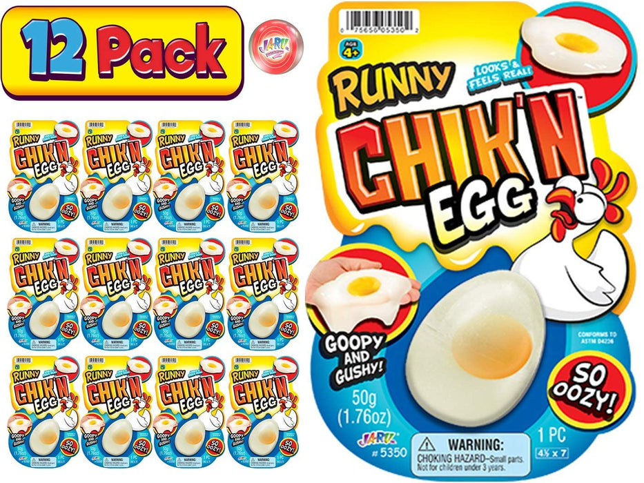 JA-RU Egg Slime Realistic Chicken Egg (Pack of 12 Bulk) Funky Slimy Eggs Splat Squishy Stress Toy Great Prank Gag Party Favors Easter Toys Supply for Kids and Adults. Plus 1 Bouncy Ball # 5350-12p
