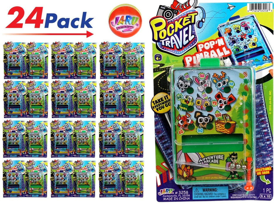 Pinball Game for Kids Portable Pocket Board Games Mini (Pack of 24) by JARU. Assortment of Classic Toys Party Favors Toy| Item #3258-24p