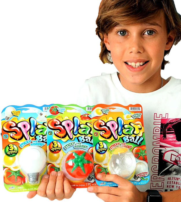 JA-RU Splat Balls Sticky & Stretchy in Bulk (2 Pack Assorted) Styles May Vary. Stress Toy Balls for Kids Games. Squishy Smash Water Ball Toy. Plus 1 Bouncy Ball. 5303-2slp