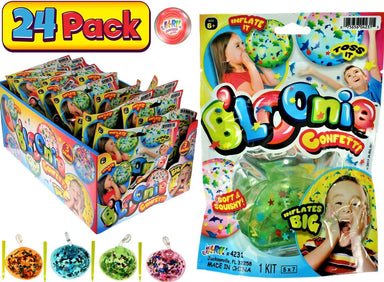 B'loonies Inflatable Balls Soft Stretchy Squishy With Confetti Inside (24 Unit with Display) JA-RU Great Original Blowing Bubble Ball Making Toy Party Favors Pinata Filler. Plus 1 Bouncy Ball 4231-24p
