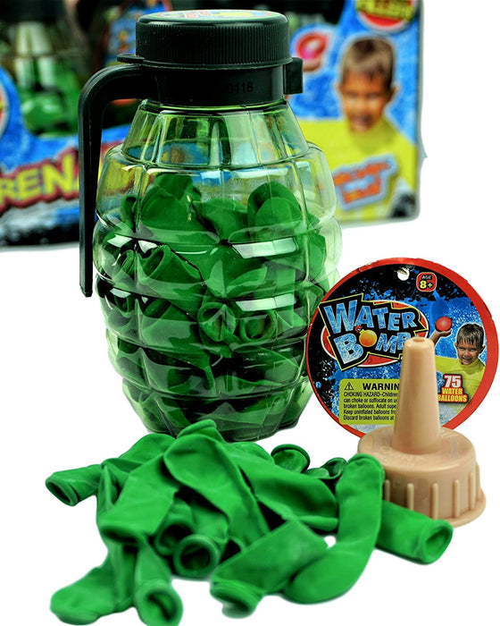 JA-RU Water Balloons Grenade (2 Pack) 75 Bombs Each and Hose Filler. | Item 182-2