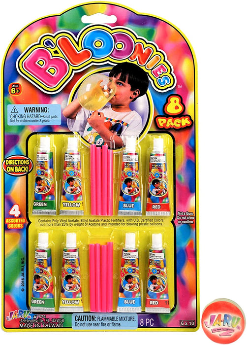 JA-RU B'loonies Plastic Balloon Variety 8 Tubes. Great Original Bloonies Bubble Making. Plus 1 Bouncy Ball 774-1p