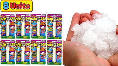 JA-RU Magic Snow Making Kit Game (Pack of 8) Easy to Make Instant Realistic Artificial Snow Cloud Slime. Mad Lab Tube with Fake Snow DIY Powder. Science Experiment. Party Favors 5422-8A