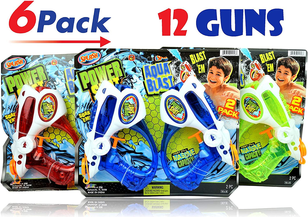 JA-RU Power Shot Water Gun (12 Guns) Aqua Blast | Item #258-6