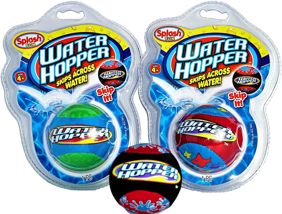 JA-RU Water Hop Skip Ball & Flyer Foam Frisbee Beach Pool Toy Bundle | Water Hopper Bouncing Ball and Flying Disc | D3