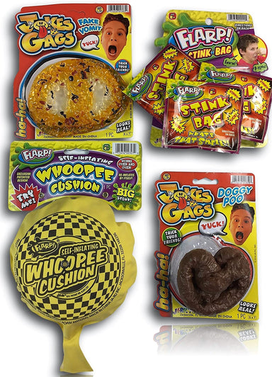 FLARP Kit Set of 5 Prank Games.Self Inflating Whoopee Cushion, Fake Dog Poop, Flarp Noise Putty, Stink Bag and Bouncy Ball. 10041-327-1379-44p