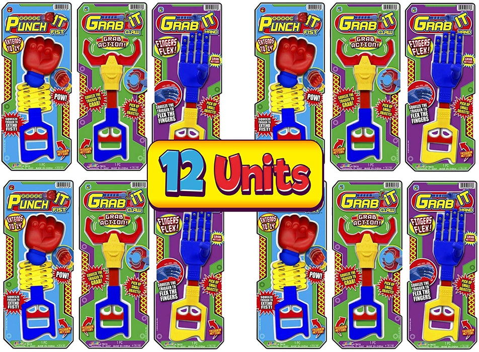 JA-RU Robot Arm, Robot Claw, Extendavle Arm (12 Pack in 3 Styles Assorted) 14 Inches Long. Grab, Punch and Pick Stick. Grabber Toys for Kids. Great Party Favor Tool Toy. Item #5616-12p