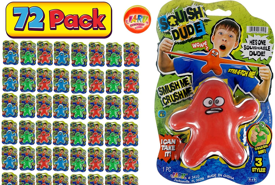 JA-RU Stretchy Toy Monster Dude Squish and Pull Toys (72 Pack Bulk) Stress Toys for Kids and Adults, Party Favor - Stretch Toys for Boys and Girls Item #3410-72p