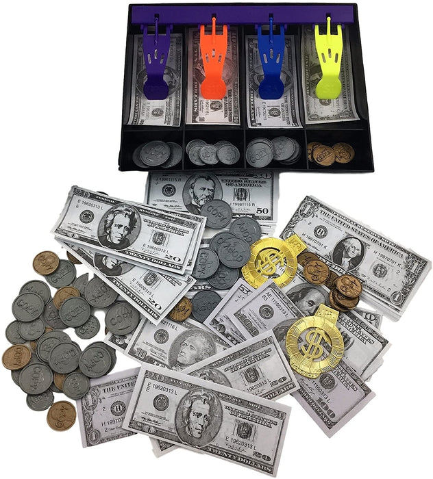 JA-RU Fake Play Money Cashier Drawer Set for Kids Educational Toy Set Cash Register Learn with Realistic Dollars | Item #3123-1A