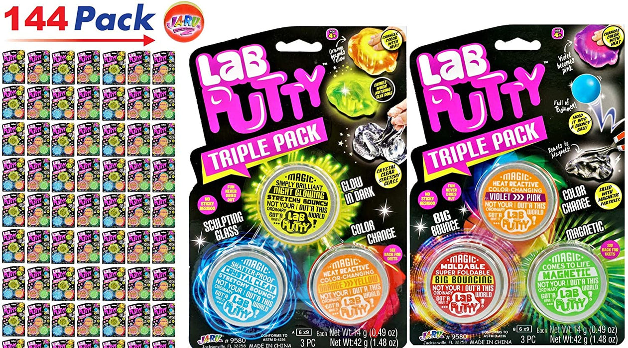 JA-RU Lab Putty Assorted Magnetic, Heat Sensitive, Crystal Clear, UV Sensitive, Glow in The Dark ( Pack) Thinking Smart Crazy Stress Putty Sensory