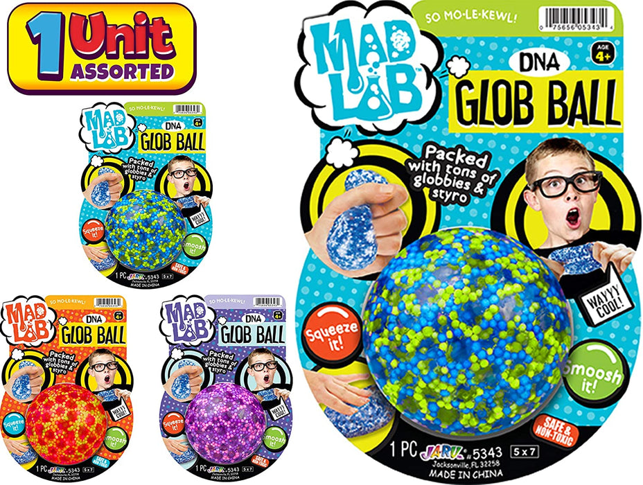 JA-RU Stress Ball Jelly Mini Beads Squishy Balls DNA (Pack of 4 Assorted) Stress Relief Toy for Kids and Adults. Great for Anxiety and Autism. Party Favor Supply. | # 5342