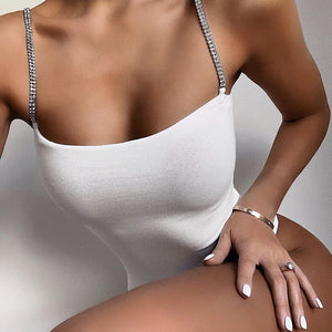 Rhinestone Strap Skinny Summer Bodysuit Women Fashion Sexy Bodies Sleeveless