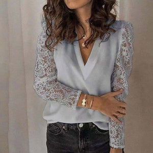 Women V-neck Lace Hollow Out Blouse Patchwork Long Sleeve