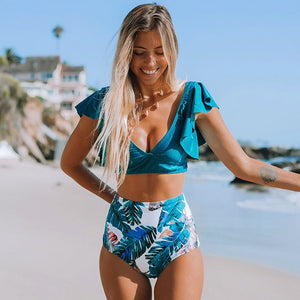 High Waist Ruffled Bikini Set 2020 Sexy Flounce Biquini Swimwear Women Two Pieces