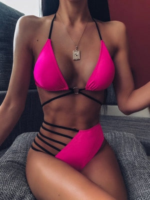 Women's swimsuit Leopard Print and Solid Colors sexy bikini