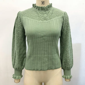 Elegant pompon sweater / pullover  perfect for Autumn and Winter lantern sleeve knitted