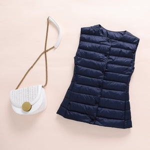 Ultralight Down Vest Women New Single-breasted Sleeveless Puffy Padded Warm Vest Jacket