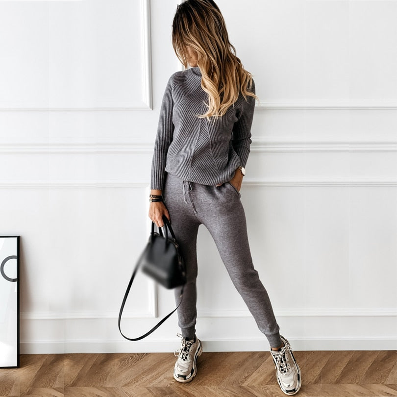 Women's tracksuit Solid Color Striped Turtleneck Sweater and Elastic Trousers Suits Knitted Two Piece Set