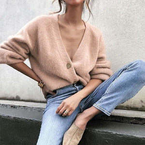Elegant Long Sleeve Mohair Sweater Women 2020 New Single-breasted Female Short Cardigan Soft Flexible Knitted Sweater