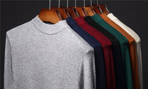 Turtleneck Sweater Men Clothing Autumn Winter Thick Warm Knitted Cotton Wool Pullover