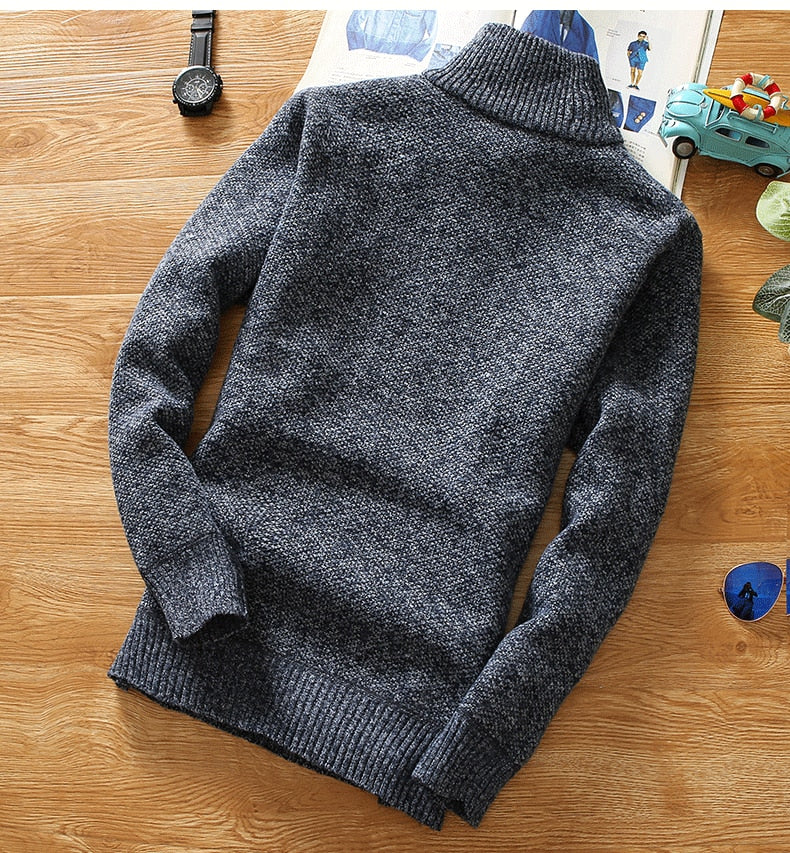 Winter Men's Fleece Thicker Sweater Half Zipper Turtleneck Warm Pullover Quality Male Slim Knitted Wool Sweaters for Spring