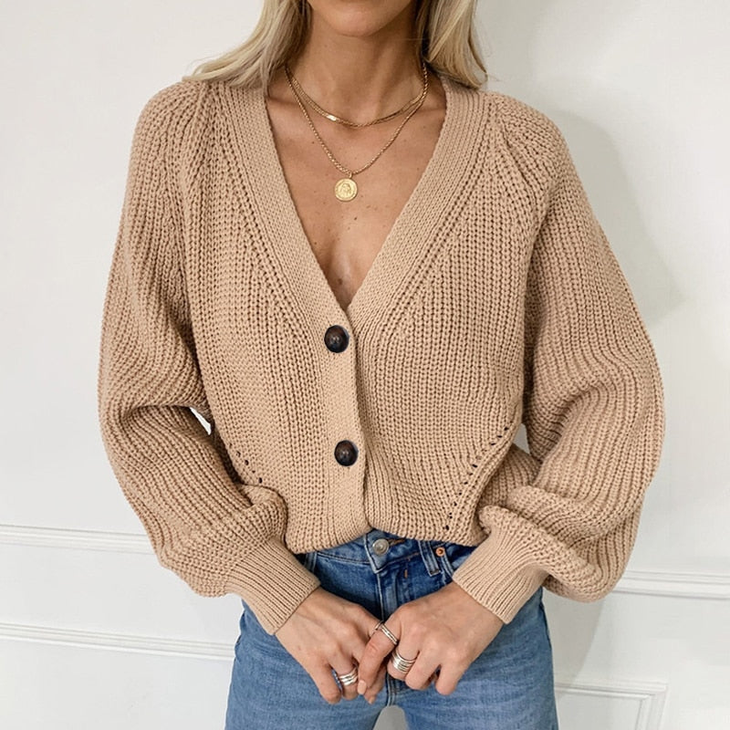 Knitted Cardigans Sweater Fashion Autumn Long Sleeve Loose Coat Casual Button Thick V Neck Solid Female Tops