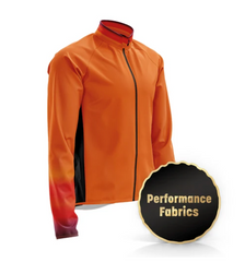 Hi vis, hi-vis cycling jacket. Wind and water resistant jacket. Windprrof. Waterproof. Bright and reflective cycling jacket in horizon design. Fat Lad At The Back plussize, plus-size, plus size cycling clothing cyclewear