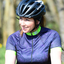 Load image into Gallery viewer, Women's Blue/Lime Marble Cycling Jersey