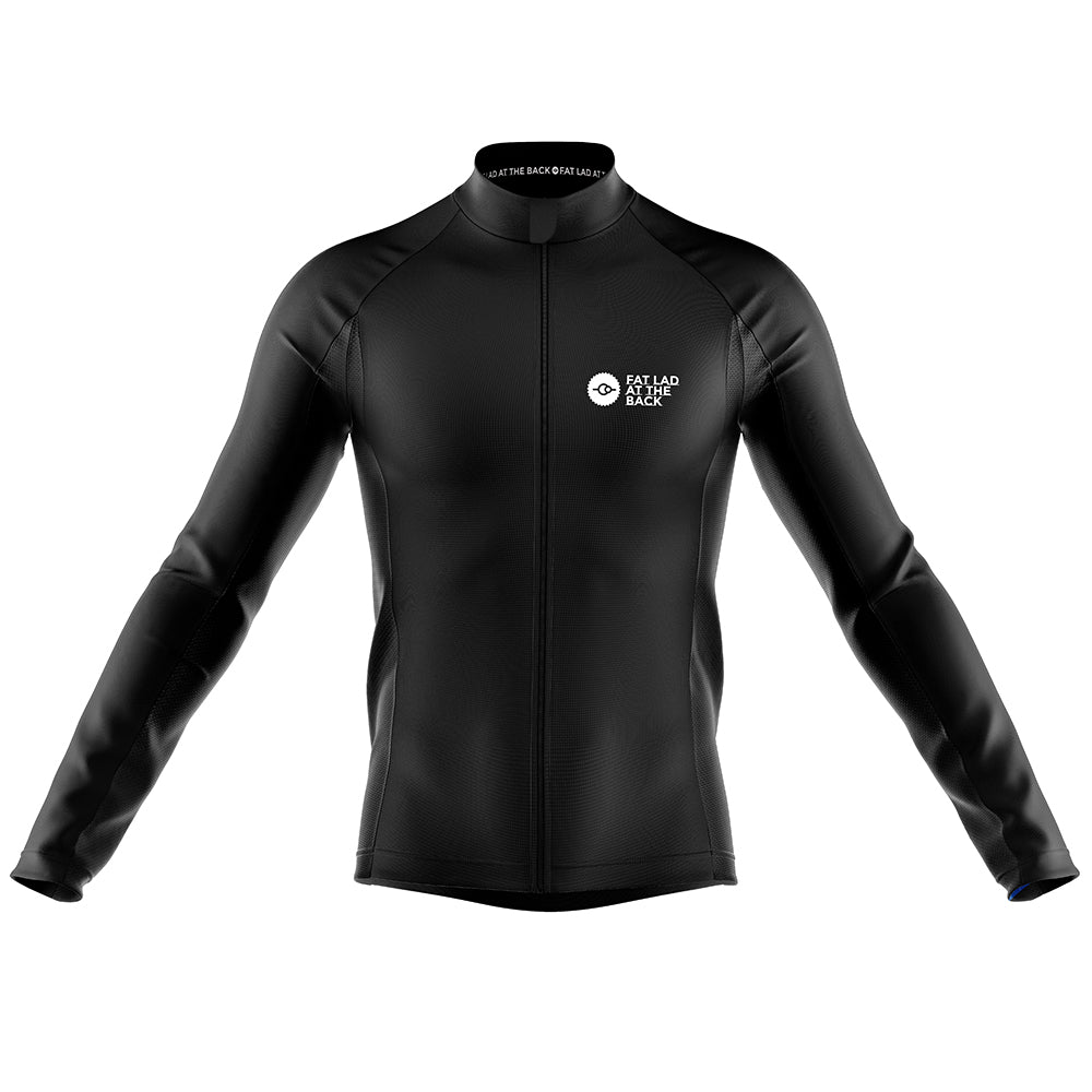 Big and Tall Mens Black Classic Windproof Cycling Jersey