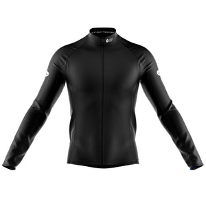 Big and Tall Mens Black Nesh Midweight Cycling Jersey - DUE END AUGUST