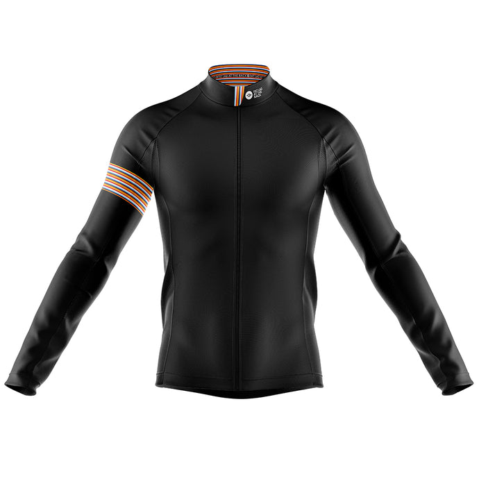 Big and Tall Mens Black Stripe Windproof Cycling Jersey