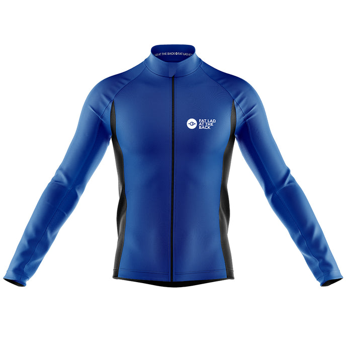Big and Tall Mens Blue Classic Windproof Cycling Jersey