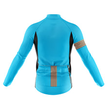 Load image into Gallery viewer, Big and Tall Mens Blue Stripe Windproof Cycling Jersey