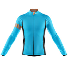 Load image into Gallery viewer, Big and Tall Mens Blue Stripe Windproof Cycling Jersey - PREORDER DELIV 1/2 WKS