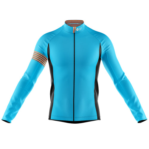 Big and Tall Mens Blue Stripe Windproof Cycling Jersey
