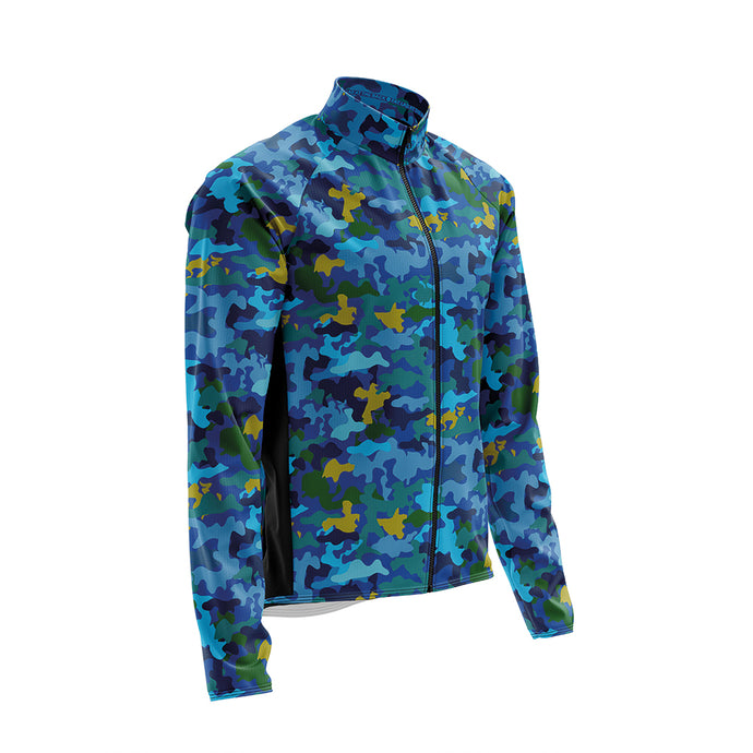 Big and Tall Mens Wind Water Resistant Cycling Jacket in Camo