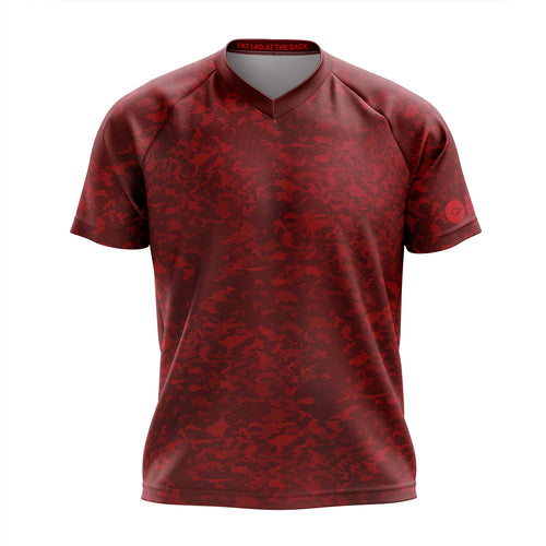 Mens Red Camo Mountain Bike Jersey