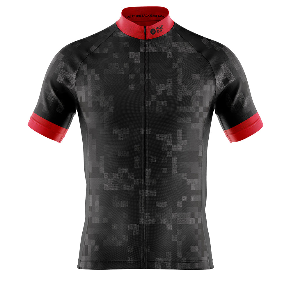Big and Tall Mens Black Cube Cycling Jersey