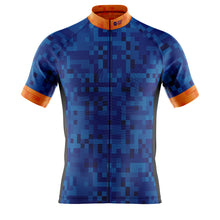 Load image into Gallery viewer, Big and Tall Mens Blue Cube Cycling Jersey