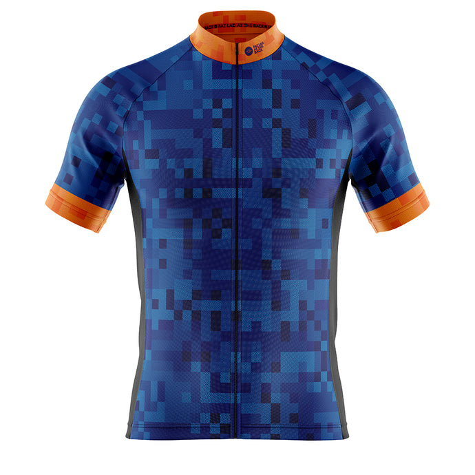 Big and Tall Mens Blue Cube Cycling Jersey