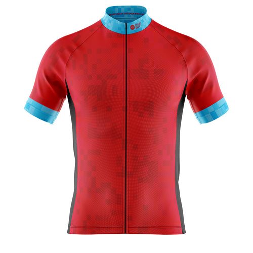 Big and Tall Mens Red Cube Cycling Jersey
