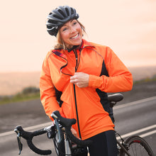 Load image into Gallery viewer, Women's Wind Water Resistant Cycling Jacket in Horizon Orange
