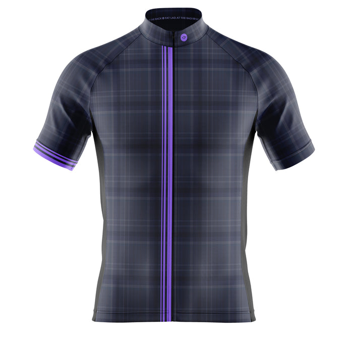 Mens Cove Cycling Jersey in Blue Check