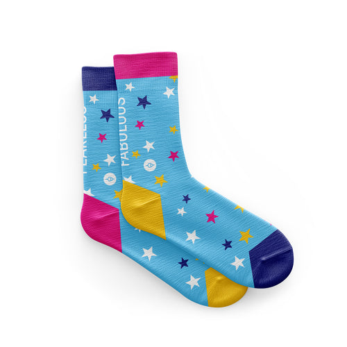 Fearless Fabulous Female Blue Cycling Socks