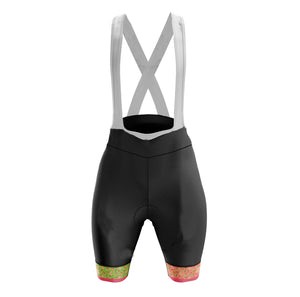 Women's Green Flutter Padded Cycling Bib Shorts