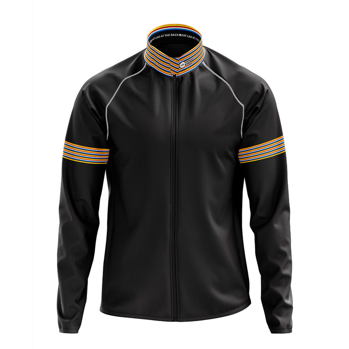 Big and Tall Mens Wind Water Resistant Cycling Jacket in Black Stripe