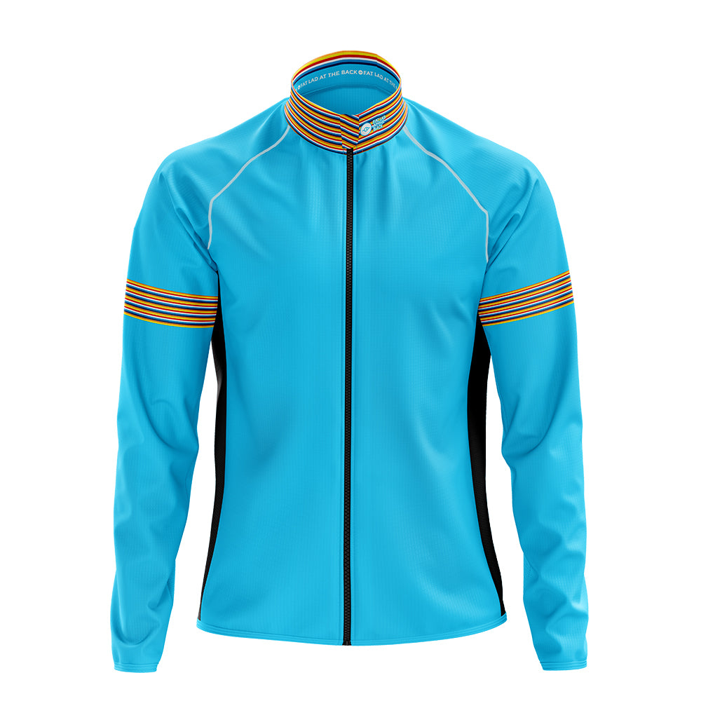 Mens Blue Stripe Cycling Rain Jacket