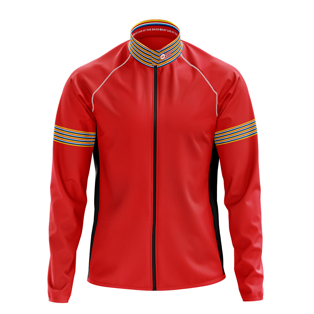 Mens Red Stripe Cycling Rain Jacket