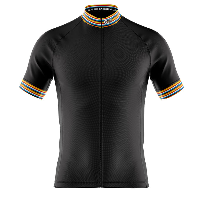 Big and Tall Mens Black Stripe Cycling Jersey